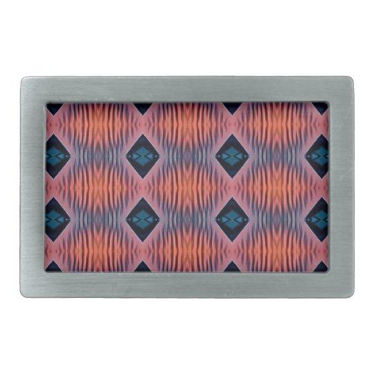 Textured Peach Blue Modern Tribal Pattern Rectangular Belt Buckle