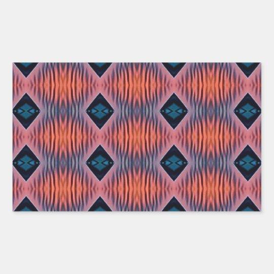 Textured Peach Blue Modern Tribal Pattern Rectangular Sticker