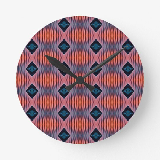 Textured Peach Blue Modern Tribal Pattern Round Clock