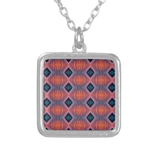 Textured Peach Blue Modern Tribal Pattern Silver Plated Necklace