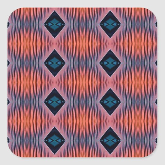 Textured Peach Blue Modern Tribal Pattern Square Sticker