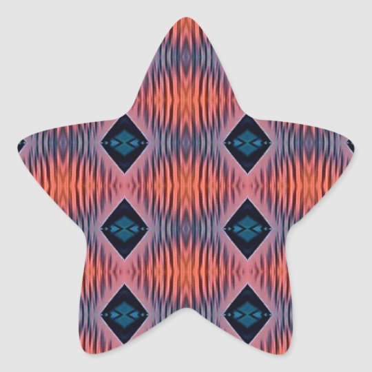 Textured Peach Blue Modern Tribal Pattern Star Sticker