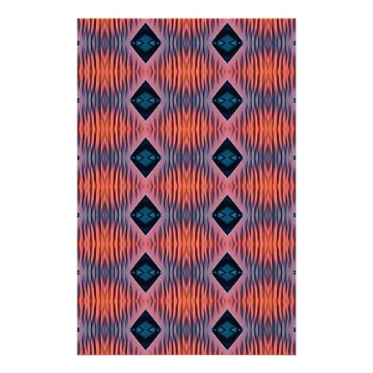 Textured Peach Blue Modern Tribal Pattern Stationery