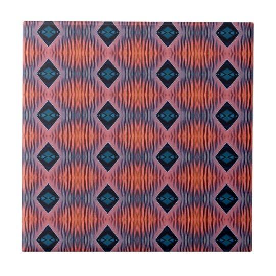 Textured Peach Blue Modern Tribal Pattern Tile
