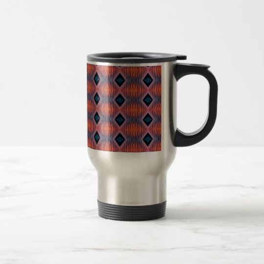 Textured Peach Blue Modern Tribal Pattern Travel Mug