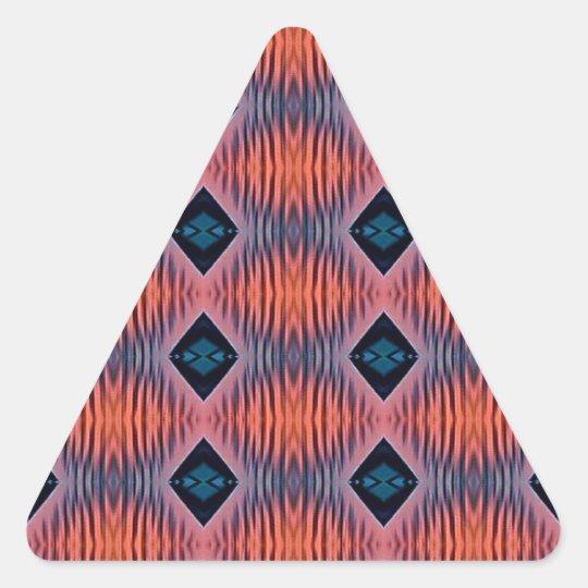 Textured Peach Blue Modern Tribal Pattern Triangle Sticker