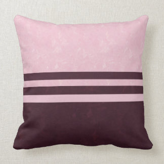 Textured Pink and Burgundy Color Block Stripe Cushion