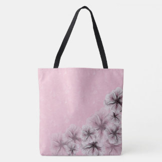 Textured Pink with Flowers Tote Bag