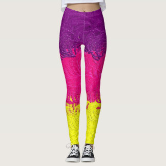 Textured Purple, Pink and Yellow Leggings