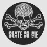 textured skull and crossbones round sticker