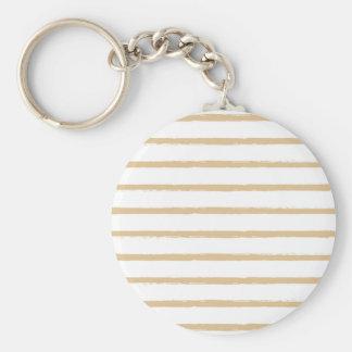 Textured Stripes Beige White  Rough Lines Pattern Basic Round Button Key Ring
