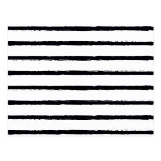 Textured Stripes Black White Rough Lines Pattern Postcard