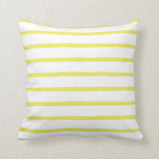 Textured Stripes Lines Bright Sun Yellow Modern Throw Pillow