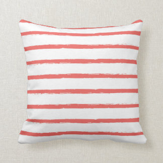 Textured Stripes Lines Coral Red Modern Throw Pillow