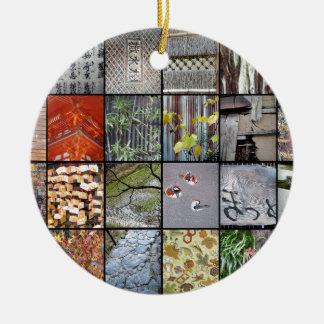 Textures of Japan Round Ceramic Decoration