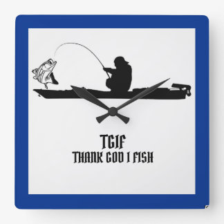 TGIF THANK GOD I FISH SQUARE WALL CLOCK