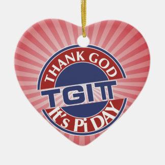 TGIPi  Thank God Its Pi Day 3.14 Red/Blue Logo Ceramic Ornament