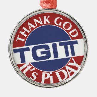 TGIPi  Thank God Its Pi Day 3.14 Red/Blue Logo Metal Ornament