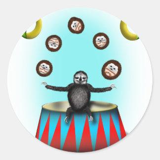 tha amazing hedgehog juggling sloth round sticker