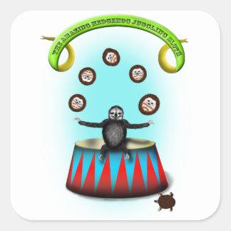 tha amazing hedgehog juggling sloth square sticker
