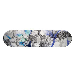 Thai Boxing Blue smoke design 18.1 Cm Old School Skateboard Deck