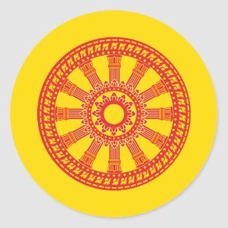 Thai buddhist flag (The Dharmacakra flag) Classic Round Sticker