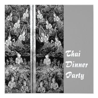 Thai Dinner Theme Party Invitation Silver