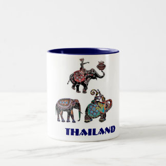 Thai Elephants Thailand Travel Souvenir Two-Tone Coffee Mug