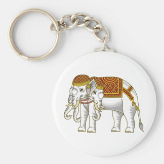 Thai Erawan White Elephant Basic Round Button Key Ring