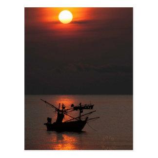 Thai fishing boats card. postcard