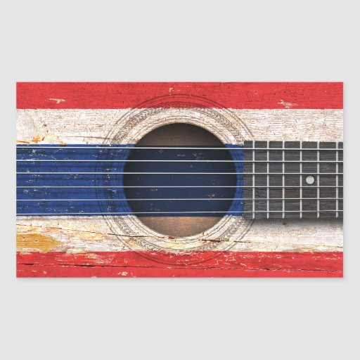 Thai Flag on Old Acoustic Guitar Rectangular Sticker