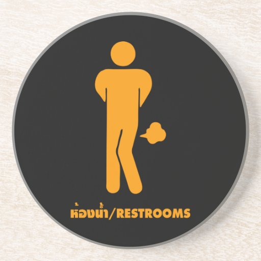 THAI FOOD CAN BE SPICY ⚠ Funny Sign : Restrooms ⚠ Beverage Coaster