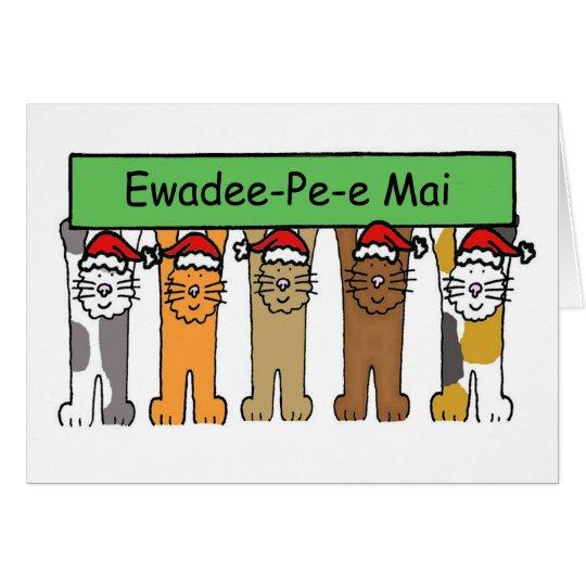 Thai Happy Christmas Cats Card