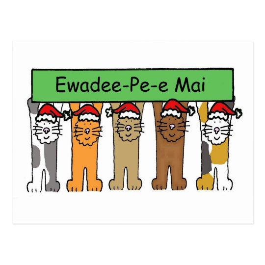 Thai Happy Christmas Cats Postcard