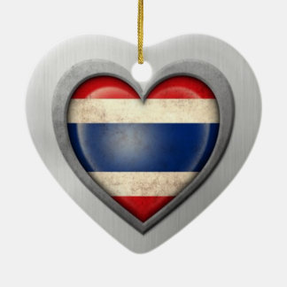 Thai Heart Flag Stainless Steel Effect Ornament