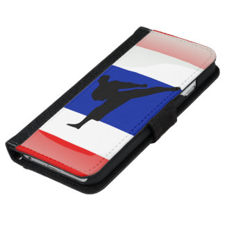 Thai kickboxer glossy flag iPhone 6 wallet case