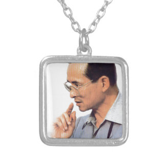 Thai King Bhumibol Adulyadej - ภูมิพลอดุลยเดช Silver Plated Necklace