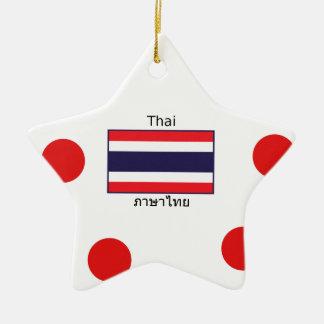 Thai Language And Thailand Flag Design Ceramic Ornament
