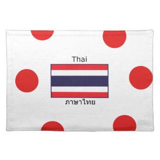 Thai Language And Thailand Flag Design Placemat