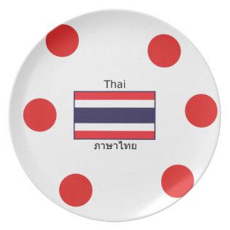 Thai Language And Thailand Flag Design Plate