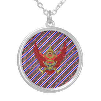 Thai stripes flag silver plated necklace
