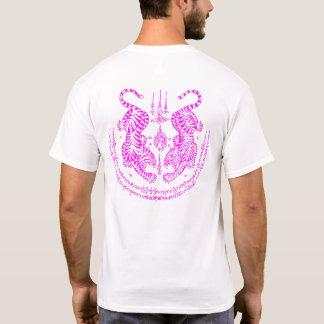 "Thai Tattoo Designs Tiger ""Yant Suea Koo"" Pink T-Shirt"