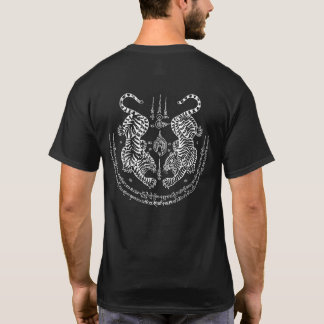 "Thai Tattoo Designs Tiger ""Yant Suea Koo"" White T-Shirt"