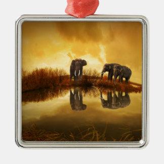 thailand-142982 ELEPHANTS GOLDEN BROWN TUNDRA NATU Metal Ornament