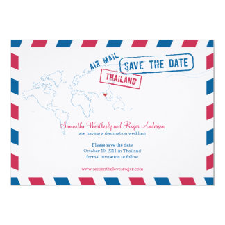 Thailand Air Mail Wedding Save The Date 13 Cm X 18 Cm Invitation Card