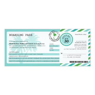 Thailand Airmail Boarding Pass Wedding 4x9.25 Paper Invitation Card