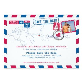 Thailand Airmail Wedding Save The Date 13 Cm X 18 Cm Invitation Card