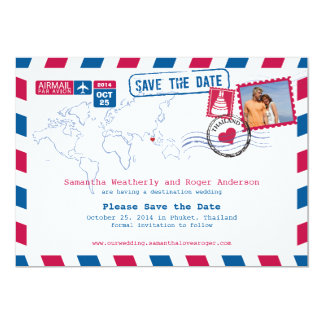 Thailand Airmail Wedding Save The Date Card