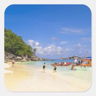 Thailand, Andaman Sea. Passengers onshore at Square Sticker