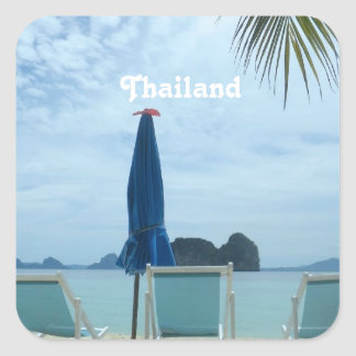 Thailand Beach Square Stickers